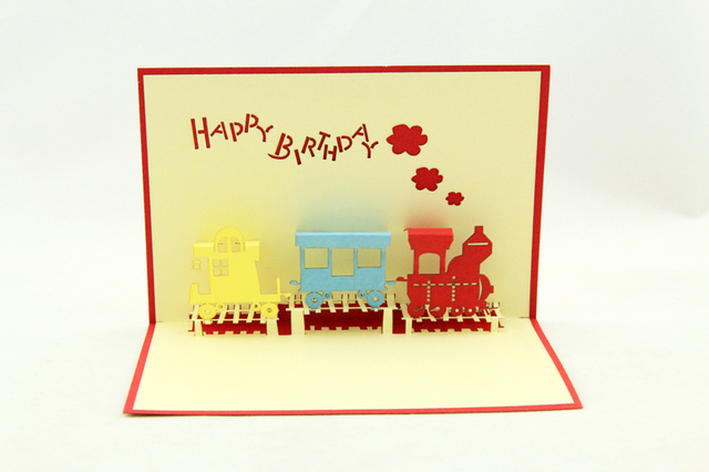 11CM15CM 3D Birthday Cards Pop Up Cute Train Pattern Birthday