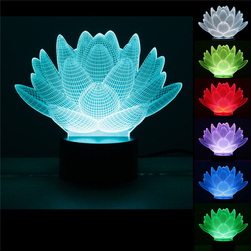 Personality Lotus Flower USB 3D Led Night Light 7Colors Changing Mood Desk Lamp Touch Bu ...