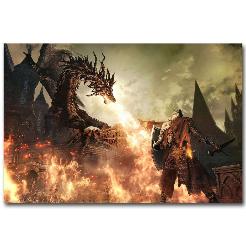 Stáhnout obrázek Bloodbrone Art Silk Fabric 13x20 24x36inch Hot Game Dragon Fired - Obrázkek zdarma pro Living Room Wall Decoration Gift 034