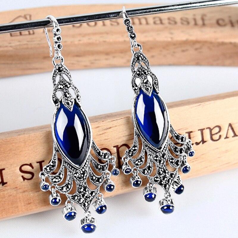 Роскошный Новый чистый стерлингового серебра 925 с голубой павлин Длинные висячие серьги