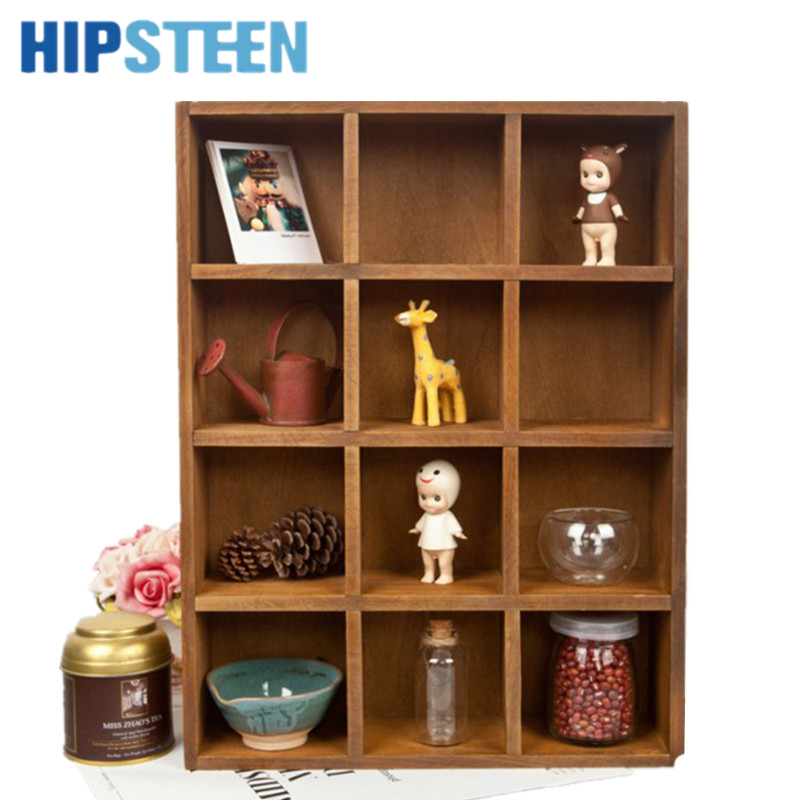 Hipsteen Vintage Pine Wood 12 Cubby 4 Layer Tray Storage