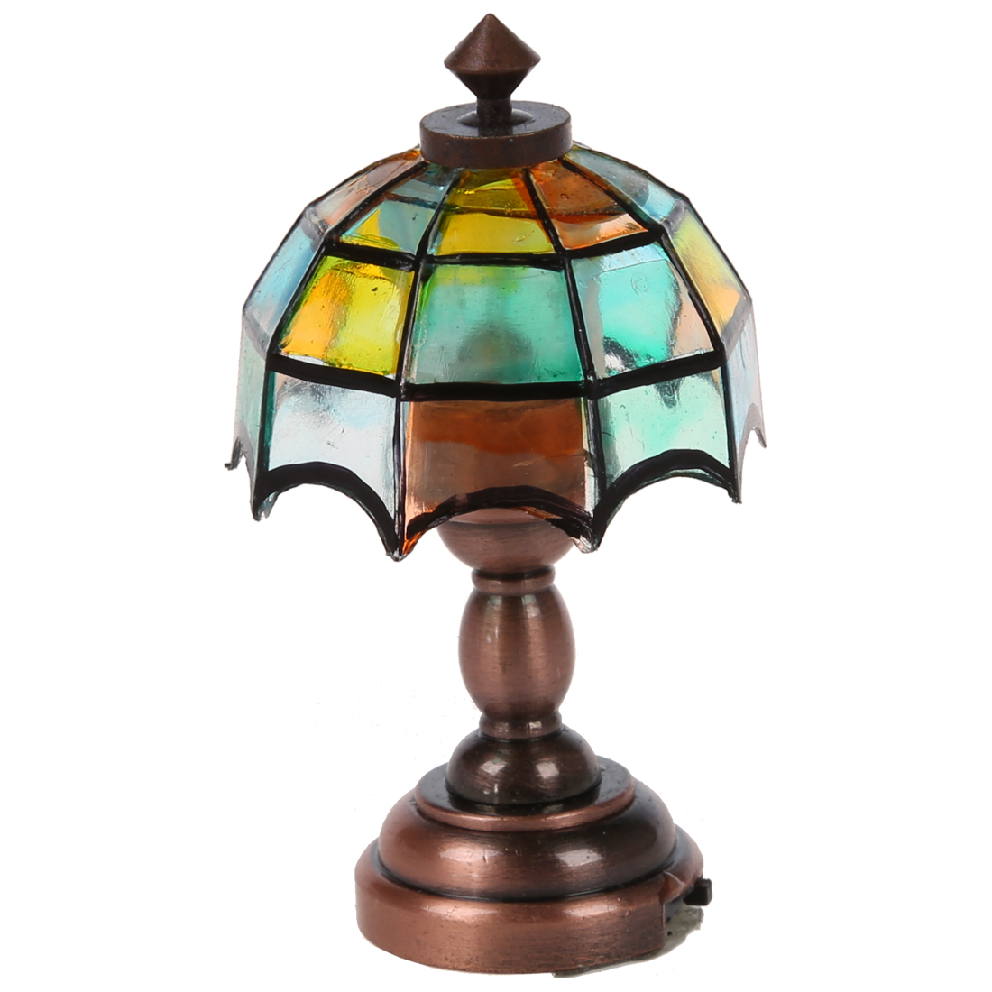 Orderly Bronze Metal 1:12 Dollhouse Miniature Led Desk Lamp Model With Multicolor Umbrella Shape Lampshade Furniture Toys Pretend Play