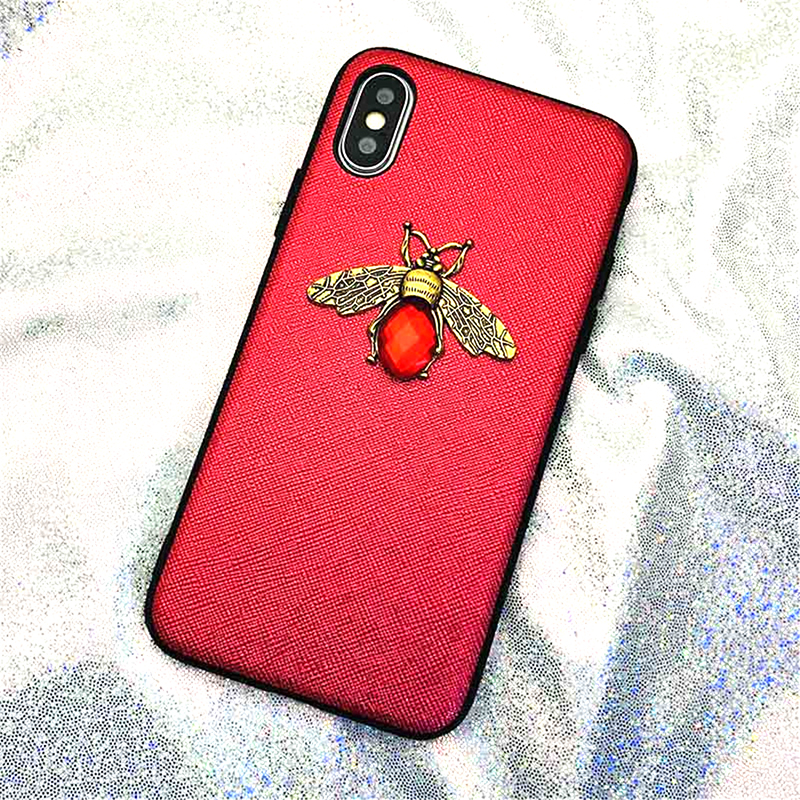 Luxury Fashion brand Diamond Bee Glitte soft case for iphone 6 S 7 8 plus X XR XS Max Cute Hard Cover for iphone 7 8 5 5S SE 6S (6)