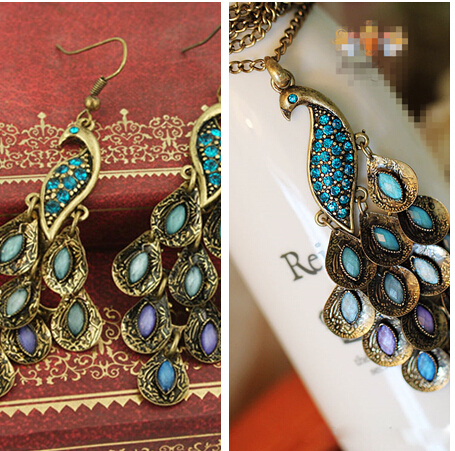 Classic Vintage Colorful Crystal Peacock Necklace Earring Jewelry Set Design Blu