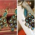 Classic Vintage de Cristal de Colores Del Pavo Real Collar Pendiente de La Joyería Diseño Gema Azul Collar de Plumas de Pavo Real