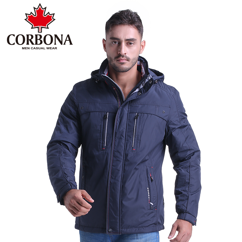 CORBON New Fashion Winter Jacket Men Hooded Parka Thick Warm Winter Male Jacket Solid Long Windbreaker