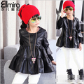 BibiCola Retail 1PC new 2017 spring autumn  baby girls Children outerwear girls PU leather lace coats & jackets for girls