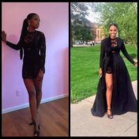Sexy Two Piece See Through Black Lace Prom Dresses 2019 Long Sleeve Detachable Coat Floor Length Evening gown Pageant prom dress