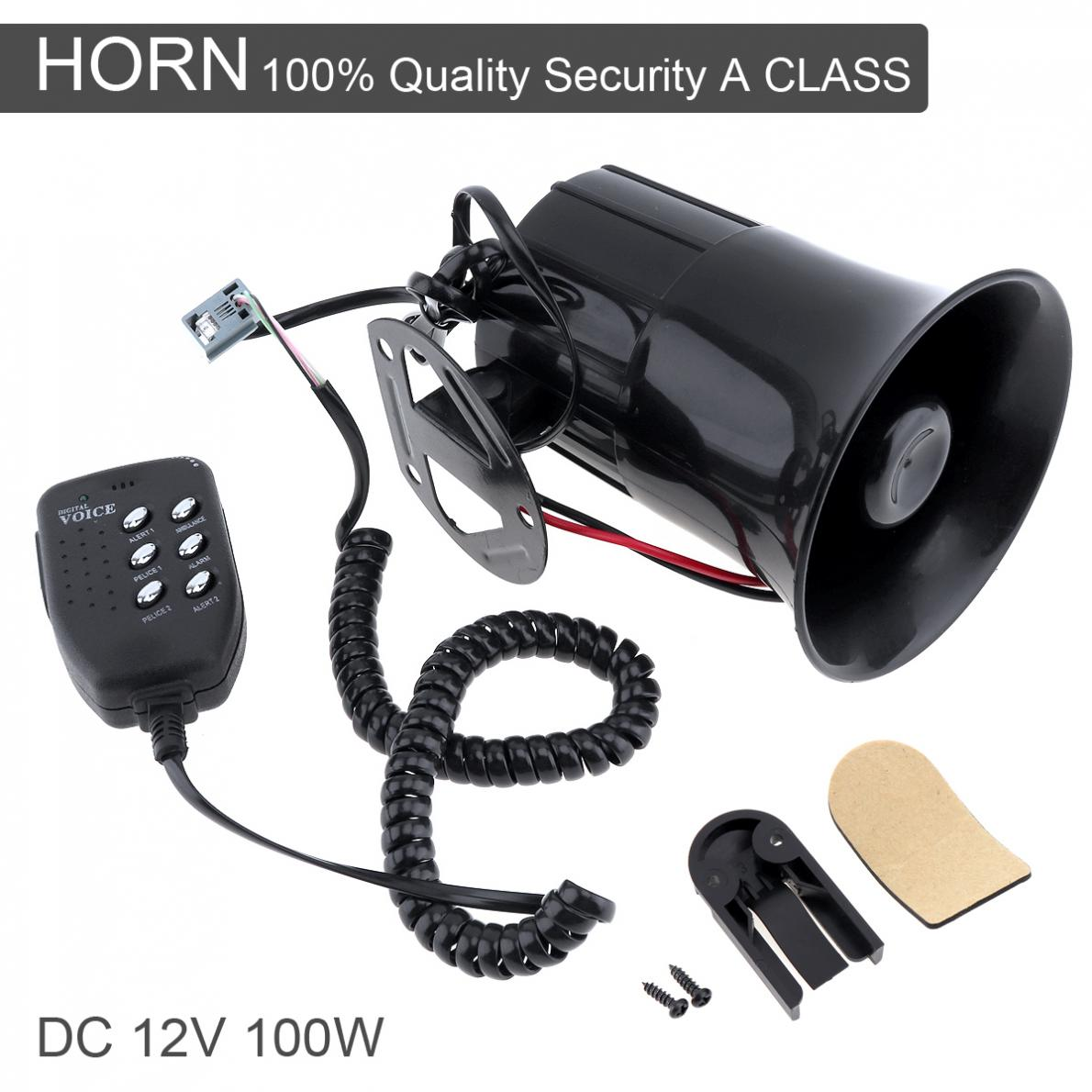 100W 12V 6 Sound Car Truck Speaker 105-115db Auto Loud Siren Alarm Horn with MIC