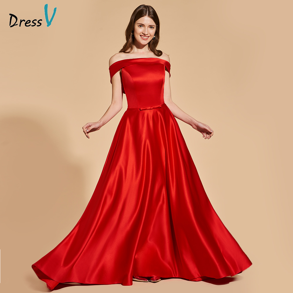 Dressv elegant red long prom dress off the shoulder empire waist ...