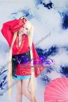 Наруто uzumaki Naruto женский вариант Косплэй костюм кимоно Хэллоуин Равномерное Экипировка Бюстгальтер + топ + юбка + пояс + Бант на заказ