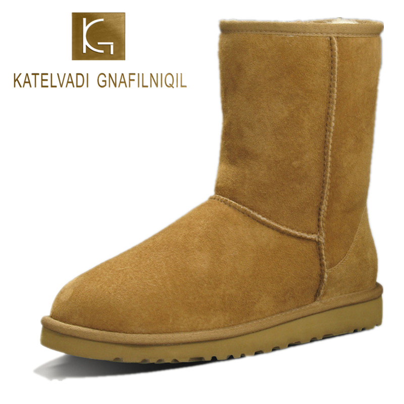 Top Quality Sheepskin Leather Snow Boots for Women Waterproof Winter Boots 100% Natural Fur Wool Women Boots Chestnut K-070 top quality fashion women ankle snow boots genuine sheepskin leather boots 100% natural fur wool warm winter boots women s boots