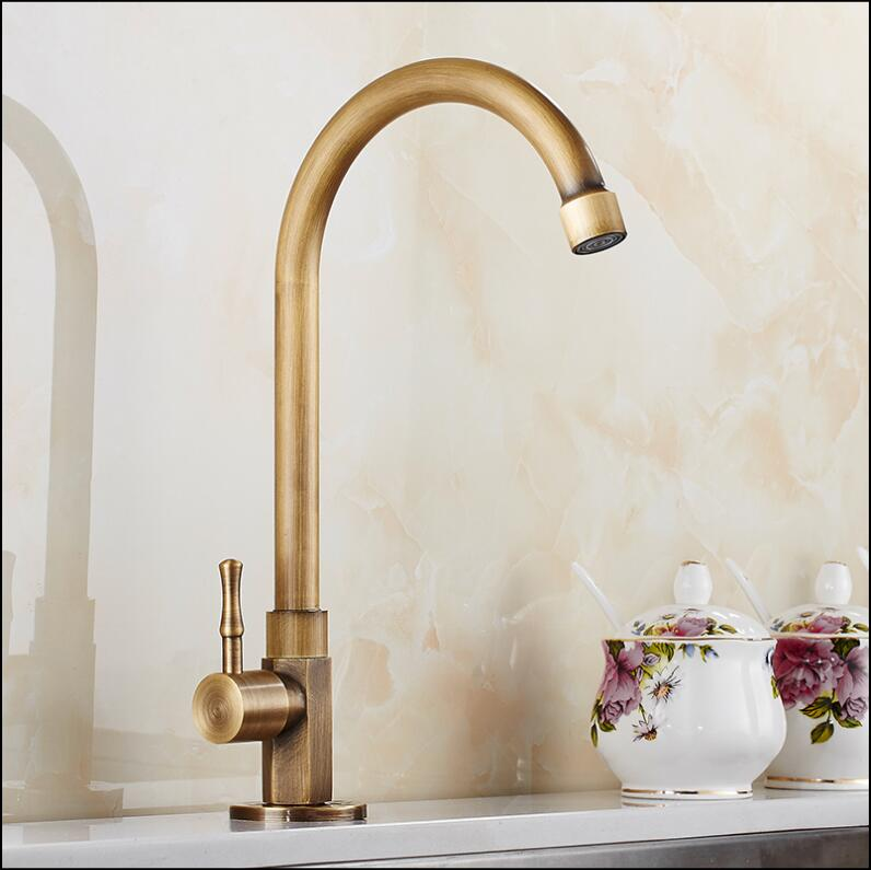 Fashion Single Cold Basin Faucet Europe style total brass antique bronze kitchen faucet swivel kitchen mixer tap,sink tap free shipping fashion europe style total brass chrome kitchen faucet swivel kitchen mixer tap sink tap direct drink kitchen tap