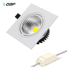 купить [DBF]Super Bright Recessed LED Dimmable Square Downlight COB 7W 9W 12W 15W LED Spot light  decoration Ceiling Lamp AC 110V 220V онлайн