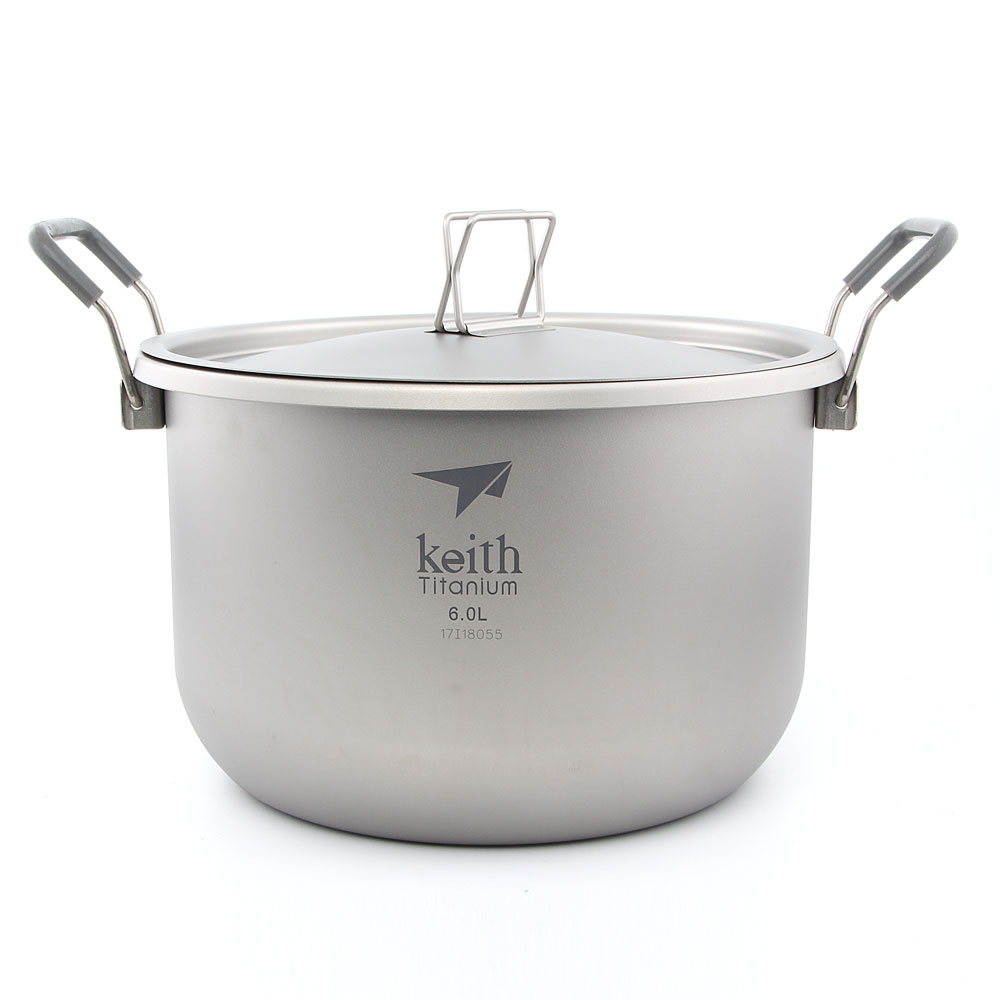 Keith Ti8301 Titanium Pot Stockpot Outdoor Hiking Picnic Cookware 6L 870g with Draw String Bag