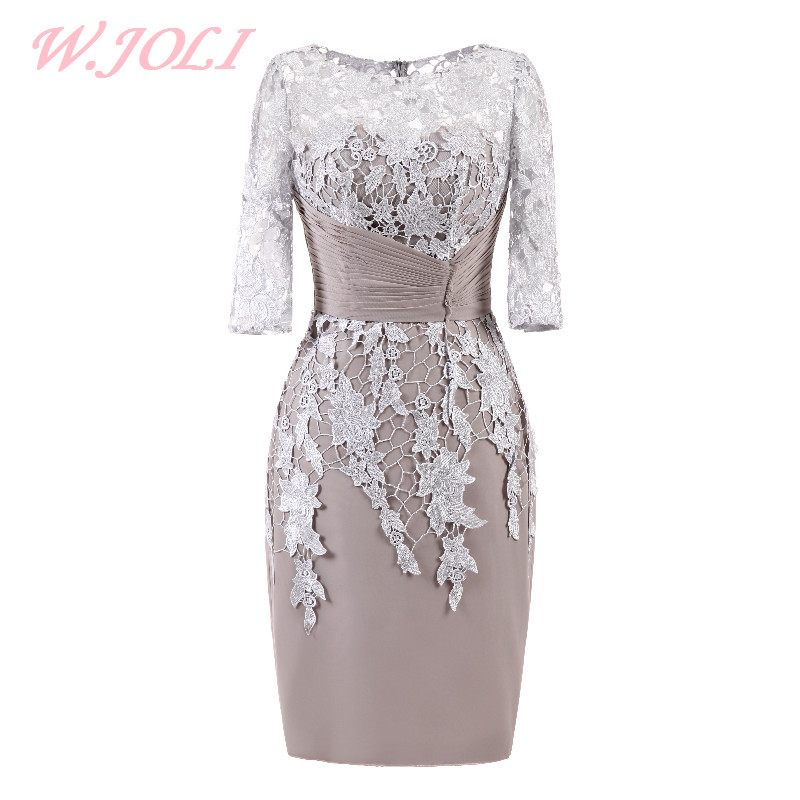 W.JOLI O-NECK Evening Dress Kort Elegant Lace Satin Appliques Pleat - Särskilda tillfällen klänningar - Foto 1