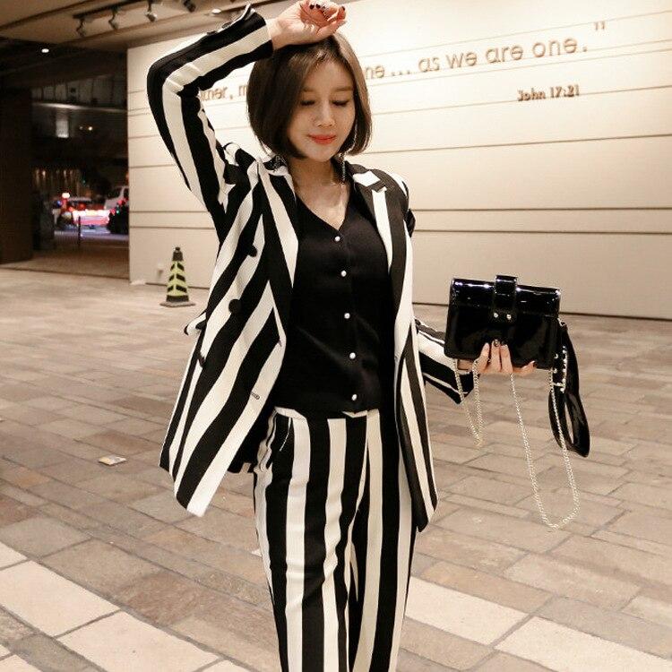 Femmes 2018 Ensembles Costume Stripes Costumes Automne White Élégant Black Formelle Lady Piste Pantalon Deux Work Bande Nouveau Office Affaires Longue Pièces Wear aqargYX