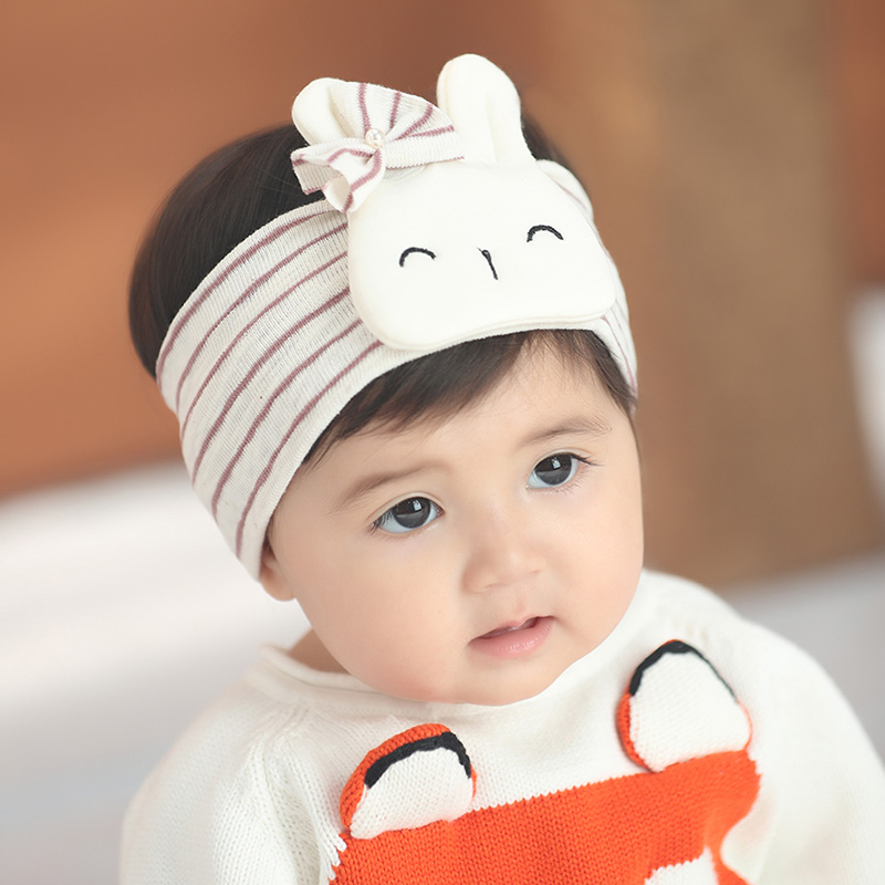 Newborn Baby Headband Wide Stripes Cotton Fabric Bandage Rabbit Doll Girl Boy Hairdress Head Accessory Infant Stretchy Headwear