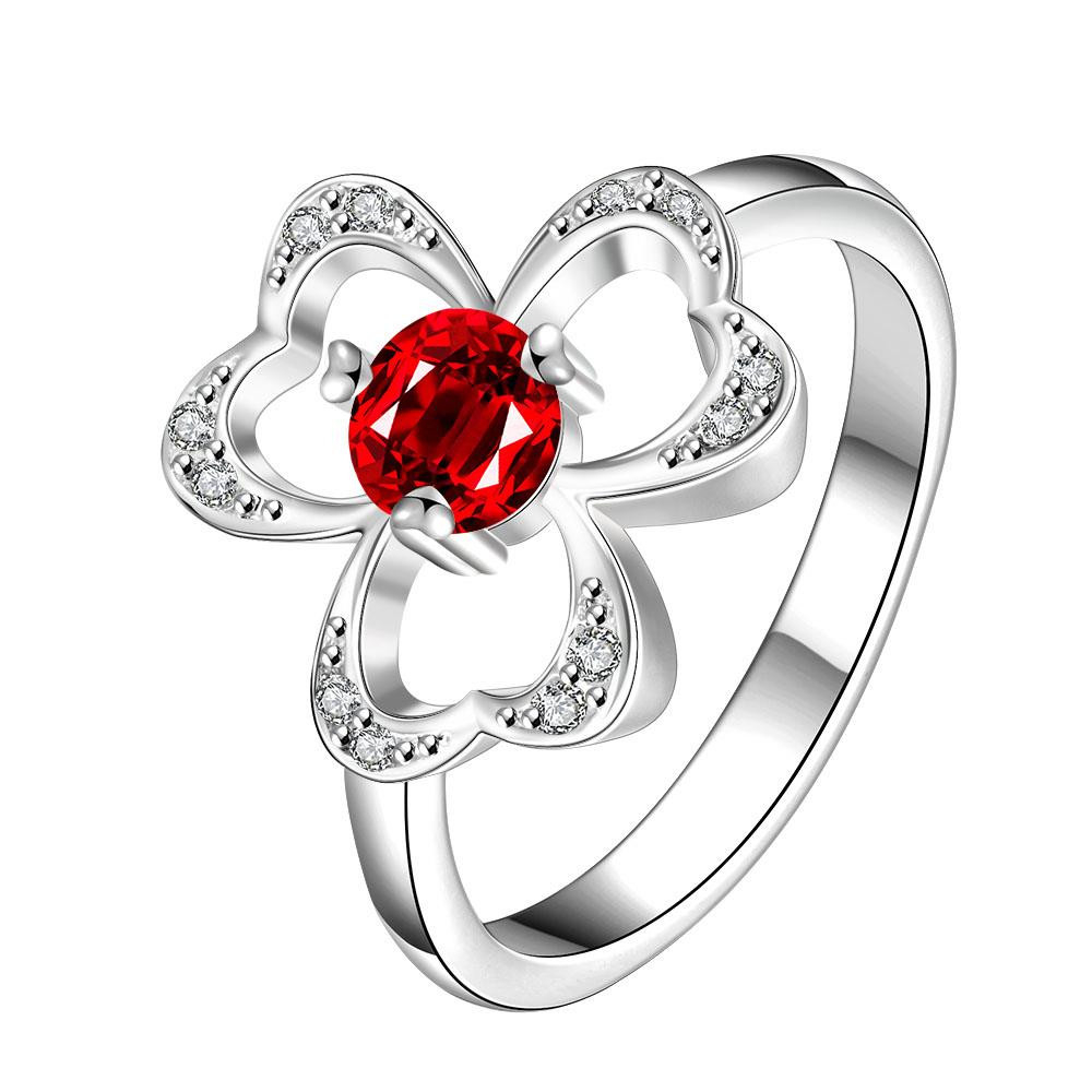 Trio-clover Stud Red Stone Red Petite Ring Size 8 коляска 2 в 1 chicco trio stylego red passion