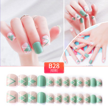 цена на 24 PCS False Nails Summer Green 24 PCS Full Nail Tips Fake Nails Design Temperament Lady for Office Home Party Beach