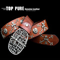 Men top layer genuine leather cowhide craft  rivets zinc alloy floral buckle head  belt spunk style top quality drop ship PB170