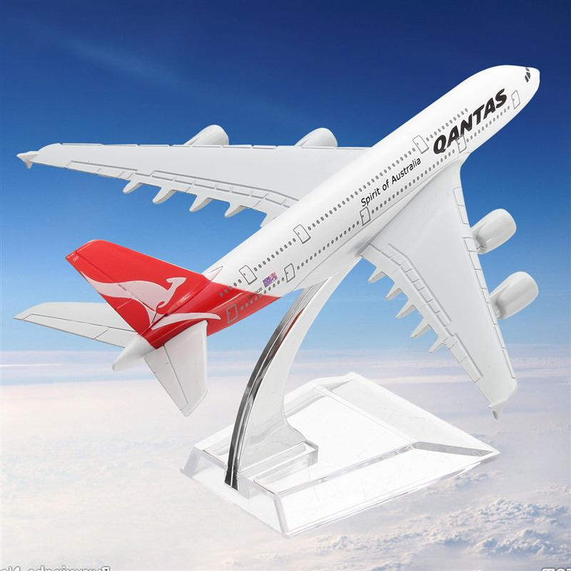 JIMITU Metal 16cm Airplane Model A380 Australia Qantas Aeroplane Scale Desk Toy Model Building Kits Toy For Children Souvenir