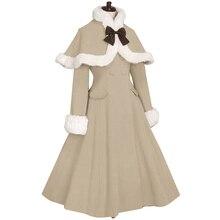 Пальто Лолита Женское зимнее длинное пальто с меховыми манжетами и накидкой куртка размера плюс на заказ