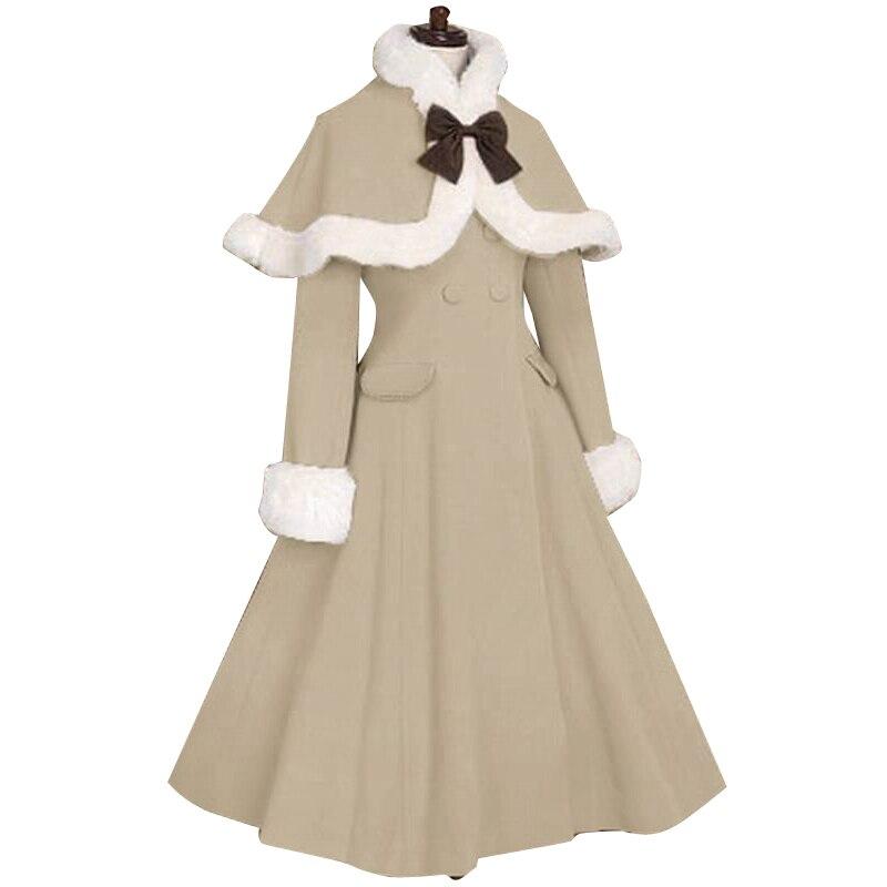 Лолита пальто женская зимняя длинное с меховыми манжетами и накидка куртка плюс размеры индивидуальный заказ