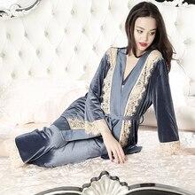 Pajamas Ladies Sleepwear Elegant Long Pants Set Pajamas suit Women Fashion Sleepwear Robe 3pcs