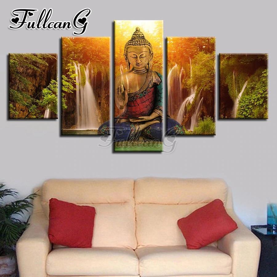 FULLCANG 5 pièce bricolage 5d diamant peinture bouddha cascade paysage plein carré/rond foret mosaïque broderie image FC837