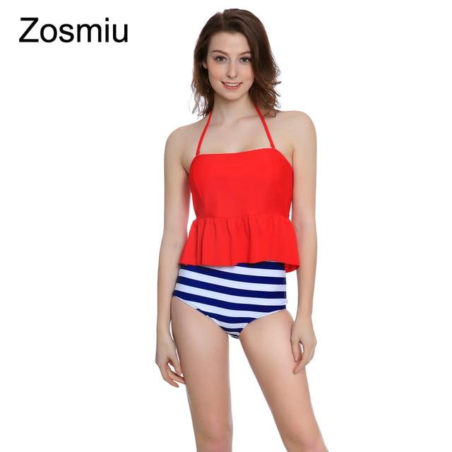 f2d28d60c0 Zosmiu Trendy High Waist Bikini 2018 Sexy Stripe Brief Swimwear Women  Swimsuits Push Up Beachwear Bathing Suit Brazilian Biquini