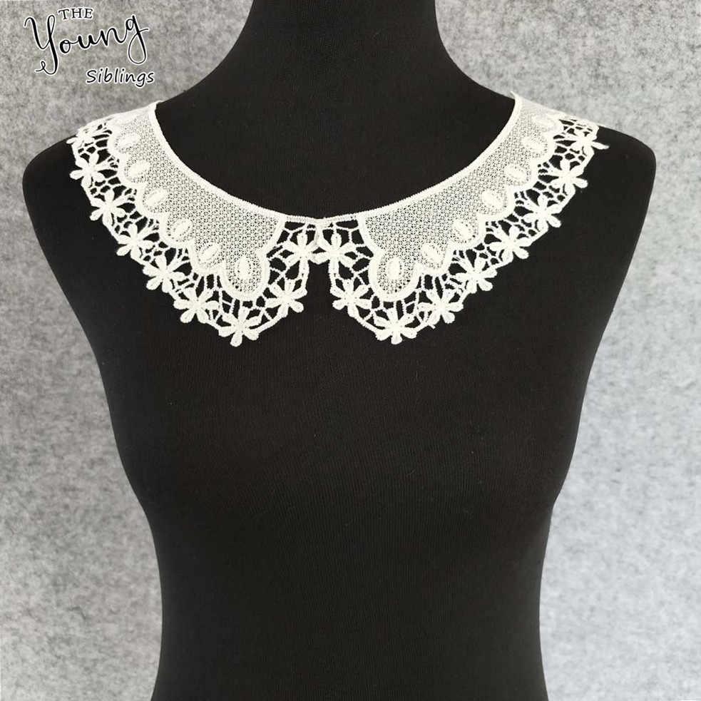 絶妙なホワイトアップリケレースの襟花ヴェネツィアレースアップリケ縫製トリム衣服 Diy ウェディングドレスの縫製クラフトアクセサリー