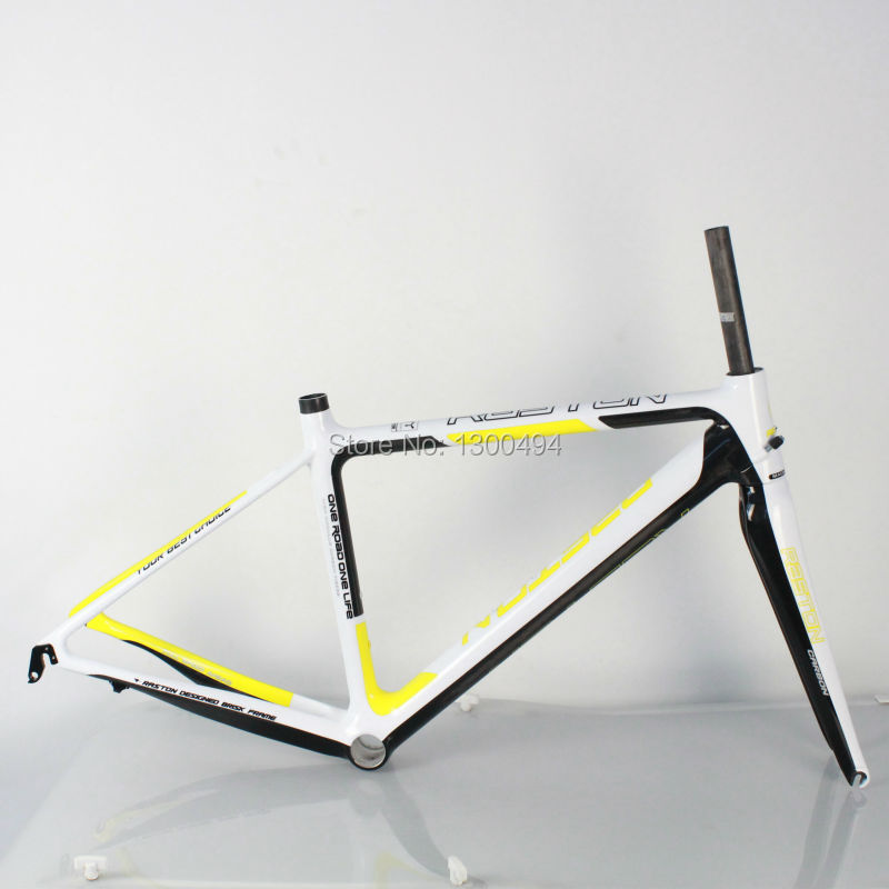 Carbon Road Frame Model:KQ-RB106R 700C Logos Finish Fork Included Factory Outlets  Yellow + White +  Carbon Fiber Black