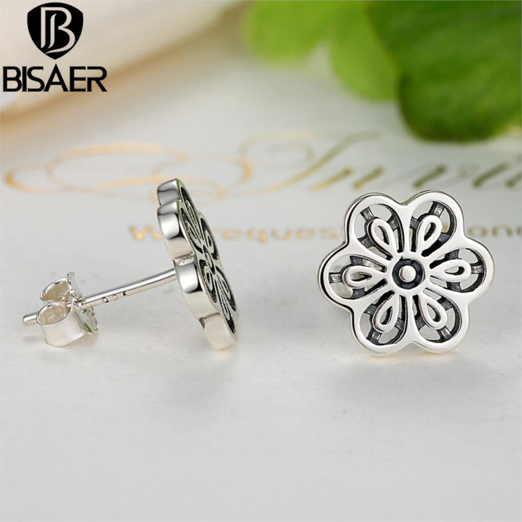 b18bfa7ed83f3 ... norway 925 sterling silver floral daisy lace flower stud earrings for  women wedding compatible with pandora