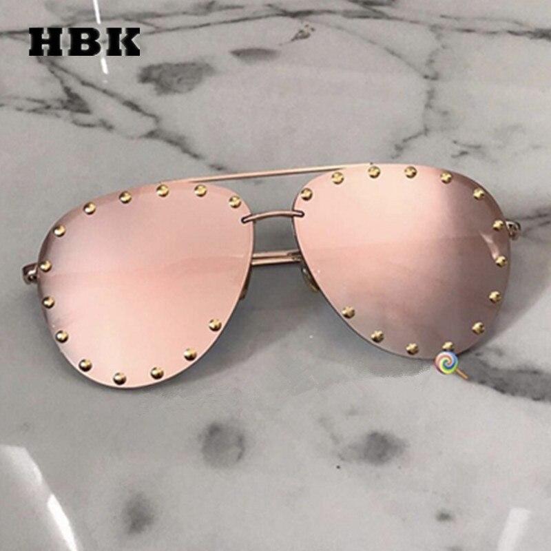 HBK солнцезащитные очки без оправы Pilot Modis Oculos для женщин и мужчин, брендовые дизайнерские роскошные солнцезащитные очки 2019 в стиле ретро, оттенки, фестиваль, подарок, розовый, UV400
