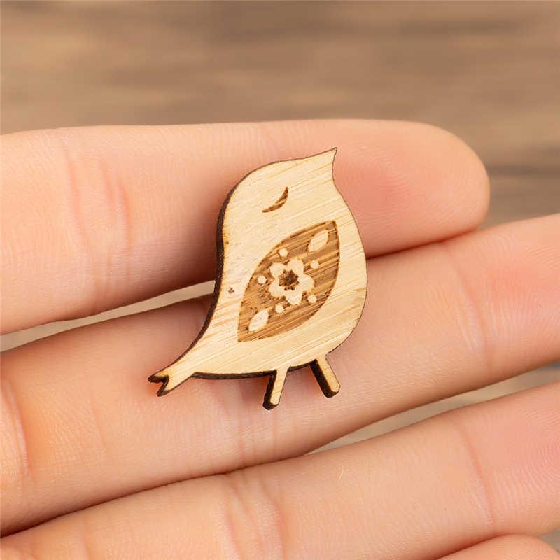 Yiustar トレンディかわいいハッピー鳥ピン鳥ブローチ女性子供木製竹ピンバッジ Everyboday ジュエリー誕生日パーティーのプレゼント
