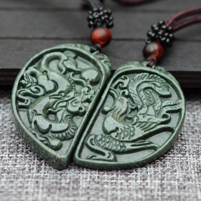 100/% Natural Green HETIAN Jades Pendant Carved Chinese Dragon Phoenix Pendant Necklace Women Men Lovers Jewelry