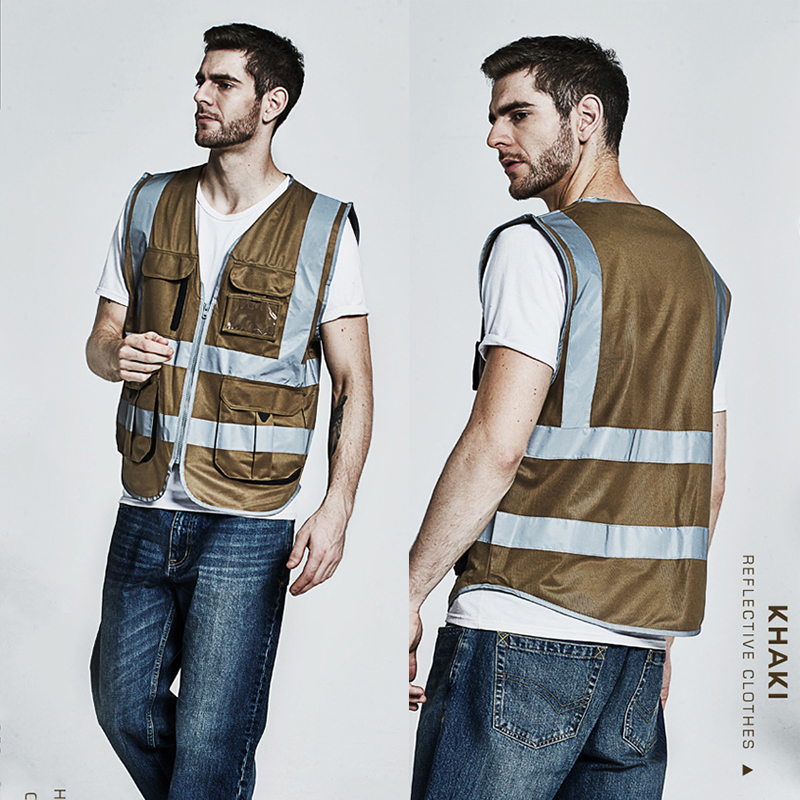 SFVest Men's cargo vest multi pockets safety vest khaki vest reflective jacket logo printing free shipping ultra chic pубашка