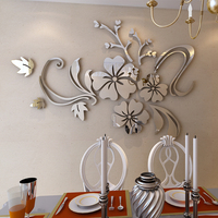 3D Flowers Vine Flower Mirror Sticker 2 mm Thickness Acrylic Wall Stickers Home Decoration DIY Gold Silver Wall Decal Room Decor