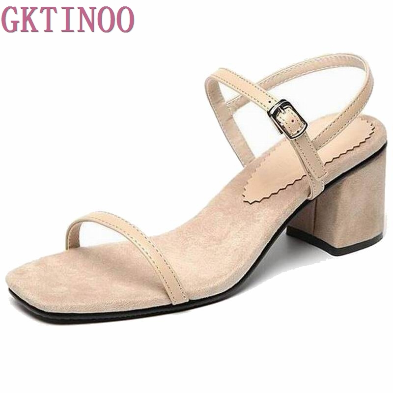 Summer Shoes Woman 2017 Open Toe Square Heels Buckle Strap Women Sandals Black PU Thick Mid Heels Sandals Woman 2018 fashion women pumps sexy open toe heels sandals woman sandals thick with women shoes high heels s144