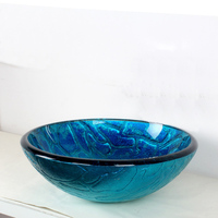 Fashion all kinds of bathroom potted tempered glass sink blue glass washbasin washroom simple LO629333