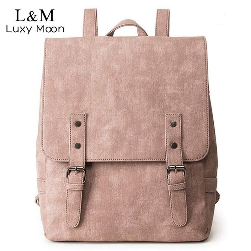Women Backpack Large School Bags For Teenage Girls Shoulder Bag Vintage PU Leather Backpacks Black Casual Solid Rucksack XA83H
