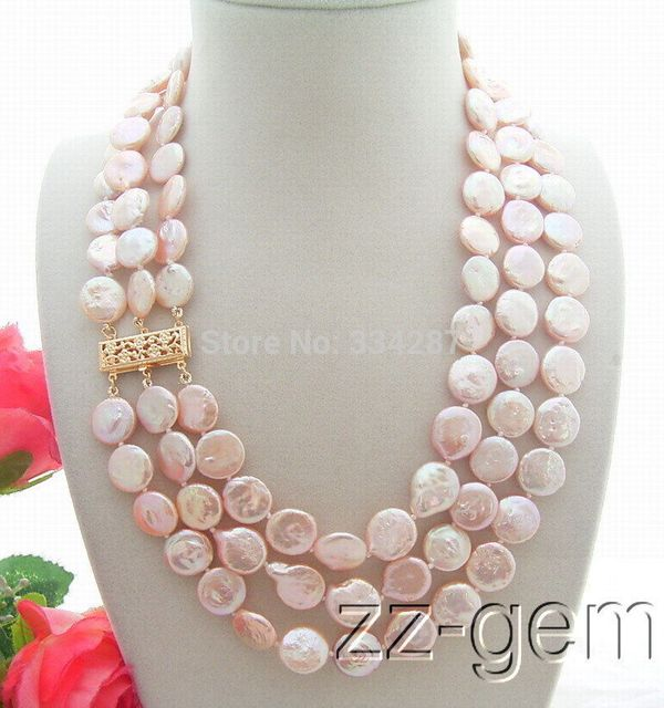100% Selling Picture full 3Strds 12MM Natural Pink Pearl Necklace