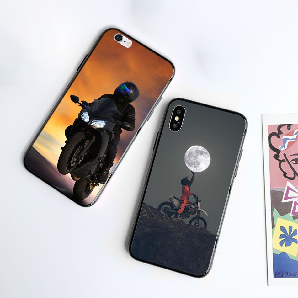 Silicone Black Case for iPhone XR X XS MAX 7 8 6 6S Plus 5 5S SE 7Plus 8Plus Mobile Phone Moto Cross motorcycle sports in Fitted Cases from Cellphones Telecommunications