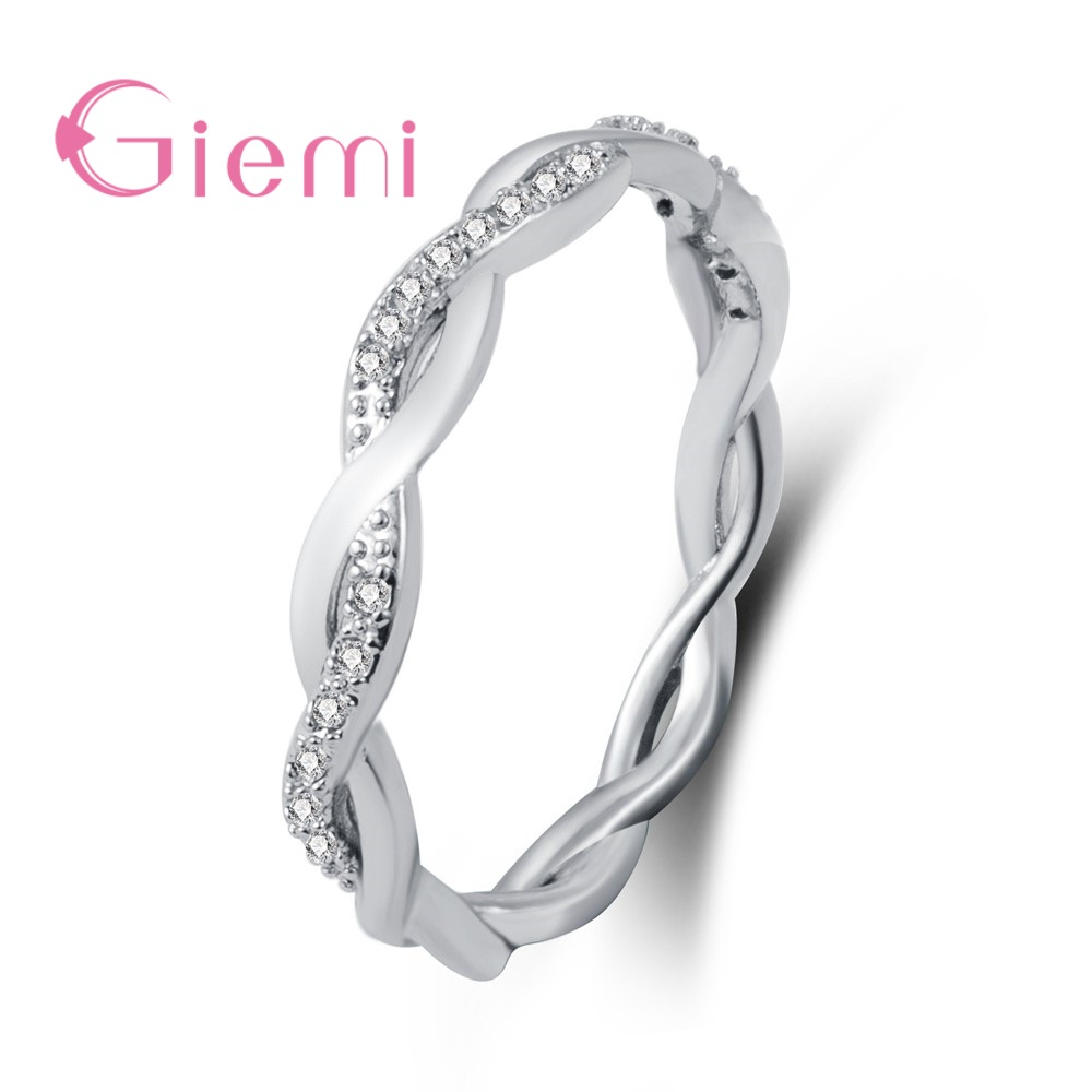 Fine Solid Pure 925 Sterling Silver Rings for Women Men AAA Cubic Zircon Cross Twisted Stackable Wedding Engagement Jewelry