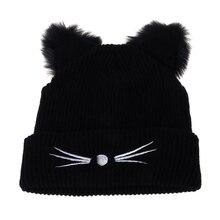 Hot Sale Cat Ears Women Hat Knitted Acrylic Warm Winter Beanie Caps Crochet Fur