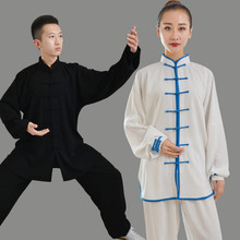 где купить Men Kung Fu Uniform Long Sleeve Women Tai Chi Uniforms Martial Arts Suit Wushu Wing Chun Clothing Stage Exercise Outfit Clothes дешево