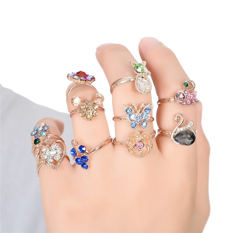 Wholesale 10pcs/lot Mixed Color Fruits Animals Flowers Shape Crystal Rings For Children Kids Girls Finger Ring Hot Sell Jewelry