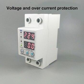 60A 230V carril Din ajustable sobre voltaje y bajo voltaje dispositivo protector relé con protección contra sobrecorriente