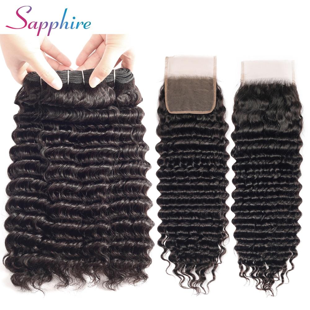 SAPPHIRE Deep wave Brazilian Weave Bundles human Hair With Lace Closure 3 Pcs lot Bundles with